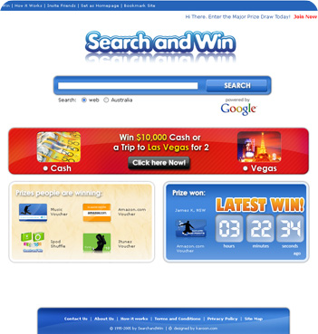 web design sample - Search and Win