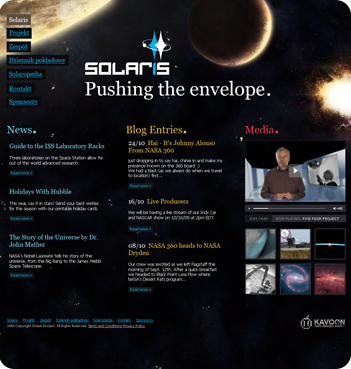 web design sample - Solaris